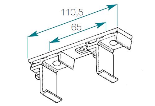 Tringle chemin de fer 35 x 20sans cordon de tirage bornot for Support double tringle plafond